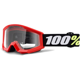 100% Strata Mini Anti Fog Clear Goggles rød